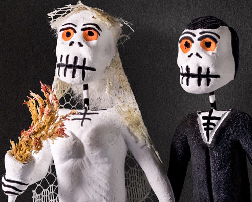 Skeleton bride and groom, Mexico.